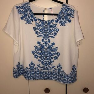 Blue and White Crop Top